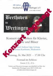 Abgesagt - Beethoven in Wertingen @ Festsaal, Schloss Wertingen