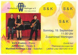 """""""S & K"""" - Saxofon & Klavier auf der Zusaminsel @ Zusaminsel Wertingen"""