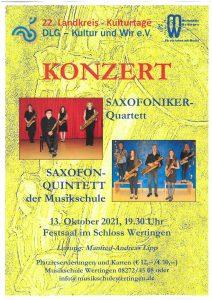 Kultur und Wir: Konzert mit Saxofoniker-Quartett und Saxofon-Quintett @ Festsaal, Schloss Wertingen